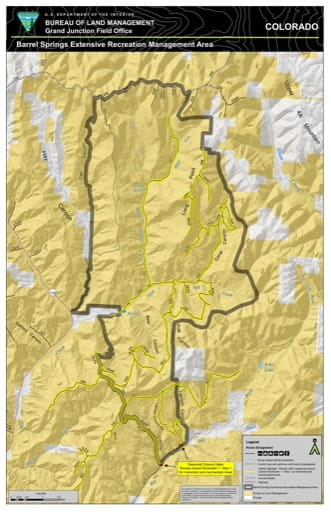 Map of the Trail System in Barrel Springs Extensive Recreation Management Area (ERMA) in the Grand Junction Field Office (FO) area in Colorado. Published by the Bureau of Land Management (BLM).