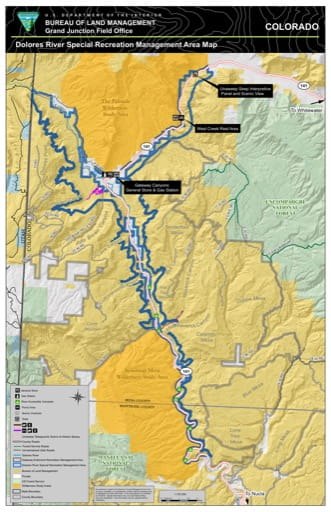 Map of the Dolores River Special Recreation Management Area (SRMA) in the BLM Grand Junction Field Office area in Colorado. Published by the Bureau of Land Management (BLM).