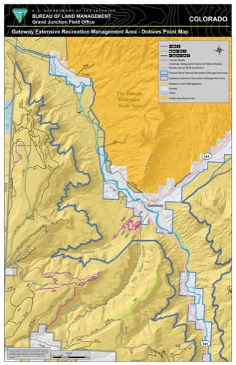 Map of Dolores Point in the Gateway Extensive Recreation Management Area (ERMA) in the BLM Grand Junction Field Office area in Colorado. Published by the Bureau of Land Management (BLM).