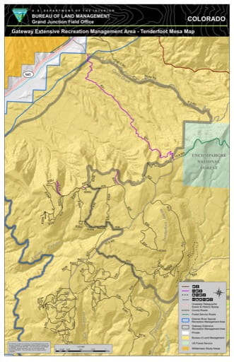 Map of Tenderfoot Mesa in the Gateway Extensive Recreation Management Area (ERMA) in the BLM Grand Junction Field Office area in Colorado. Published by the Bureau of Land Management (BLM).