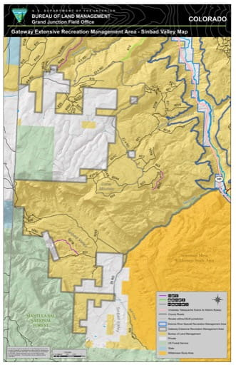 Map of Sinbad Valley in the Gateway Extensive Recreation Management Area (ERMA) in the BLM Grand Junction Field Office area in Colorado. Published by the Bureau of Land Management (BLM).