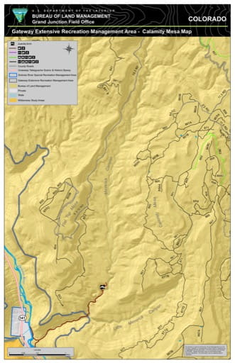 Map of Calamity Mesa in the Gateway Extensive Recreation Management Area (ERMA) in the BLM Grand Junction Field Office area in Colorado. Published by the Bureau of Land Management (BLM).