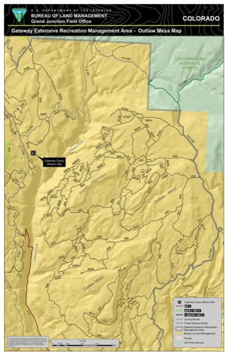 Map of Outlaw Mesa in the Gateway Extensive Recreation Management Area (ERMA) in the BLM Grand Junction Field Office area in Colorado. Published by the Bureau of Landmanagement (BLM).
