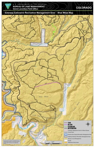 Map of Blue Mesa in the Gateway Extensive Recreation Management Area (ERMA) in the BLM Grand Junction Field Office area in Colorado. Published by the Bureau of Land Management (BLM).