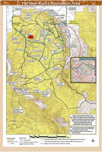 map of Hardman Rocks - Trail System