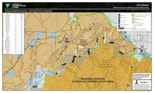 Map of Colorado River Campsites in Ruby-Horsethief Canyons in McInnis National Conservation Area (NCA) in Colorado. Published by the Bureau of Landmanagement (BLM).