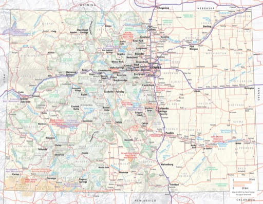 map of Colorado State - Colorado State Map