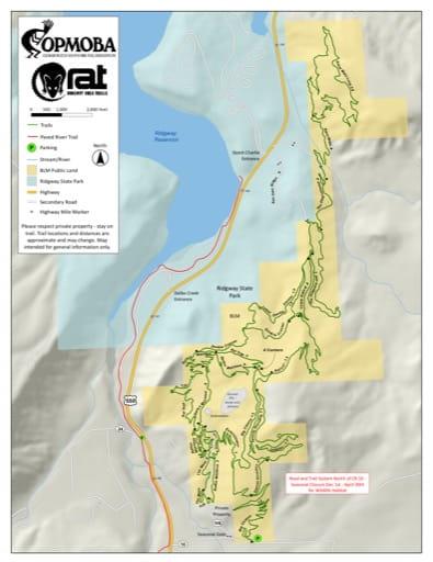 map of Ridgway - Mountain Bike Trails