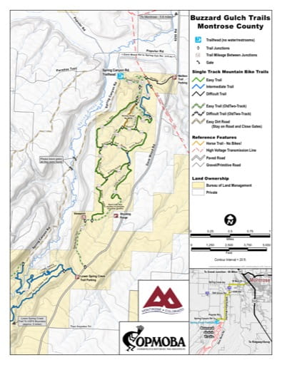 map of Buzzard Gulch - Mountain Bike Trails