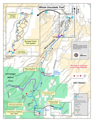 map of Whole Uncalada - Mountain Bike Trails