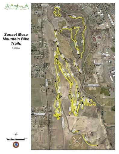 map of Sunset Mesa - Mountain Bike Trails