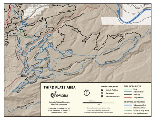 Map of the Third Flats Area Mountain Bike Trail System near Grand Junction, Colorado. Published by the Colorado Plateau Mountain Bike Trail Association (COPMOBA).