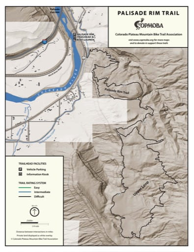Map of the Palisade Rim Mountain Bike Trails near Grand Junction, Colorado. Published by the Colorado Plateau Mountain Bike Trail Association (COPMOBA).