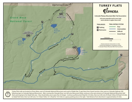Map of the Turkey Flats Mountain Bike Trails near in Grand Mesa National Forest (NF). Published by the Colorado Plateau Mountain Bike Trail Association (COPMOBA).