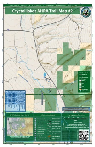CPW Pocket Trail Map #2: Trails Map of Crystal Lakes South of Leadville in the Arkansas Headwaters Recreation Area (RA) in Colorado. Published by Colorado Parks & Wildlife.