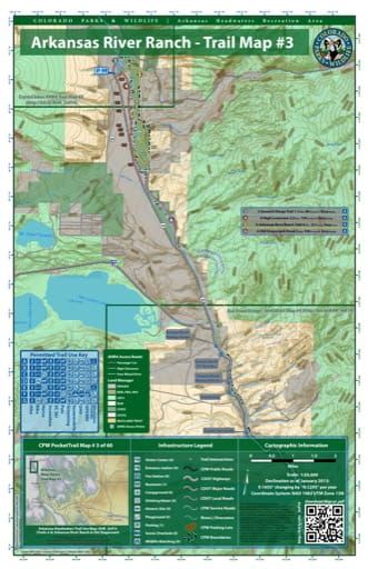 CPW Pocket Trail Map #3: Trails Map of Arkansas River Ranch & Old Stagecoach in the Arkansas Headwaters Recreation Area (RA) in Colorado. Published by Colorado Parks & Wildlife.