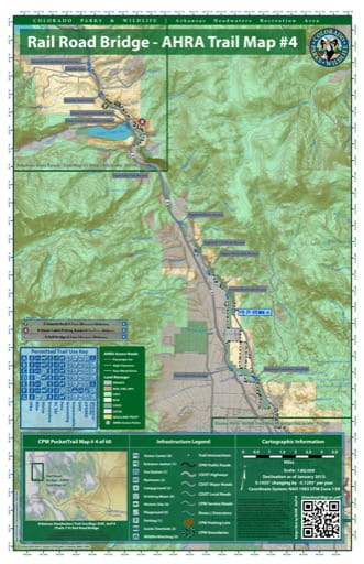 CPW Pocket Trail Map #4: Trails Map of the Rail Road Bridge area in the Arkansas Headwaters Recreation Area (RA) in Colorado. Published by Colorado Parks & Wildlife.