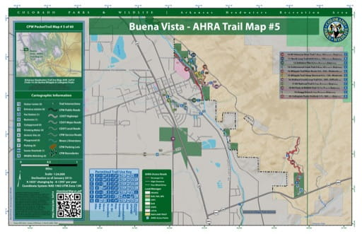 CPW Pocket Trail Map #5: Trails Map of Barbra Whipple & Collegiate Peaks Trails near Buena Vista in the Arkansas Headwaters Recreation Area (RA) in Colorado. Published by Colorado Parks & Wildlife.