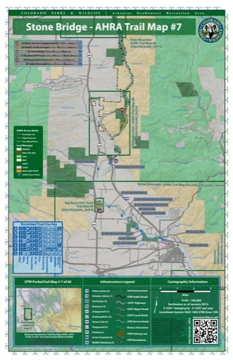 CPW Pocket Trail Map #7: Trails and Overview Map of Stone Bridge / North of Salida area in the Arkansas Headwaters Recreation Area (RA) in Colorado. Published by Colorado Parks & Wildlife.