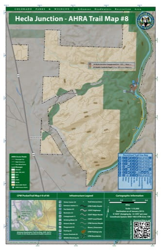 CPW Pocket Trail Map #8: Trails Map of Hecla Junction & Siedel's Suckhole areas in the Arkansas Headwaters Recreation Area (RA) in Colorado. Published by Colorado Parks & Wildlife.