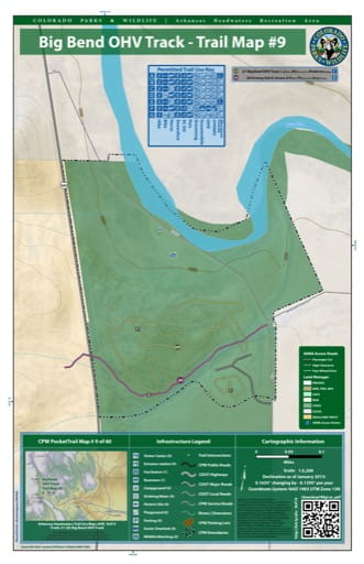 CPW Pocket Trail Map #9: Big Bed Off-Highway Vehicle (OHV) Tracks Map in the Arkansas Headwaters Recreation Area (RA) in Colorado. Published by Colorado Parks & Wildlife.