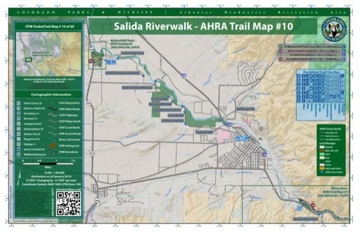 CPW Pocket Trail Map #10: Trails Map of Salida Riverwalk in the Arkansas Headwaters Recreation Area (RA) in Colorado. Published by Colorado Parks & Wildlife.