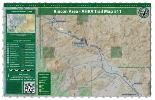 CPW Pocket Trail Map #11: Trails Map of Rincon Area in the Arkansas Headwaters Recreation Area (RA) in Colorado. Published by Colorado Parks & Wildlife.