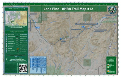 CPW Pocket Trail Map #12: Trails Map of Lone Pine & Vallie Bridge areas in the Arkansas Headwaters Recreation Area (RA) in Colorado. Published by Colorado Parks & Wildlife.