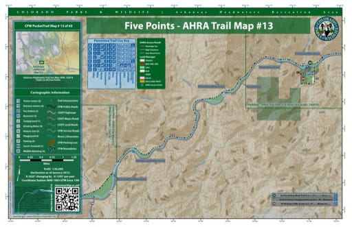 CPW Pocket Trail Map #13: Trails Map of Five Points area in the Arkansas Headwaters Recreation Area (RA) in Colorado. Published by Colorado Parks & Wildlife.