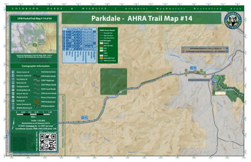 CPW Pocket Trail Map #14: Trails Map of Parkdale day use and river access within the Arkansas Headwaters Recreation Area (RA) in Colorado. Published by Colorado Parks & Wildlife.