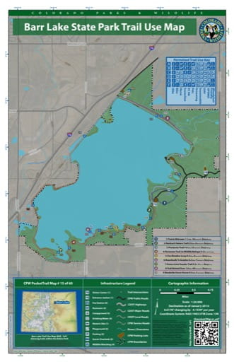 CPW Pocket Trail Map #15: Trails Map of Barr Lake State Park (SP) in Colorado. Published by Colorado Parks & Wildlife.