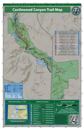 map of Castlewood Canyon - Trail System