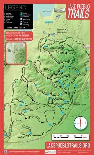 map of Lake Pueblo - Trails East