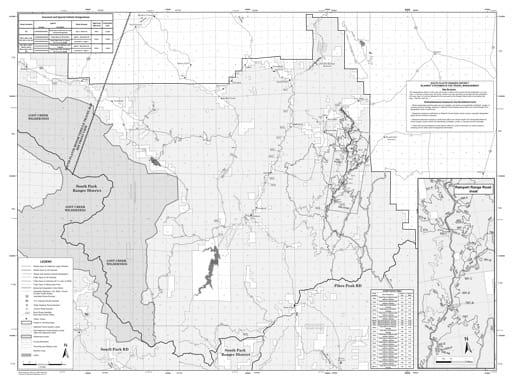Motor Vehicle Travel Map (MVTM) of the South Platte Ranger District in Pike National Forest (NF) in Colorado. Published by the U.S. Forest Service (USFS).
