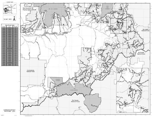 map of Gunnison MVUM - South 2016