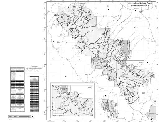 map of Uncompahgre MVUM - Plateau 2016