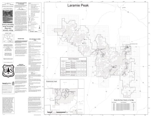 Motor Vehicle Use Map (MVUM) of Laramie Peak in Douglas Ranger District in Medicine Bow National Forest (NF) in Wyoming. Published by the U.S. Forest Service (USFS).