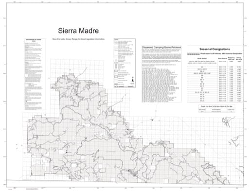 Motor Vehicle Use Map (MVUM) of Sierra Madre in Laramie and Brush Creek-Hayden Ranger Districts in Medicine Bow National Forest (NF) in Wyoming. Published by the U.S. Forest Service (USFS).