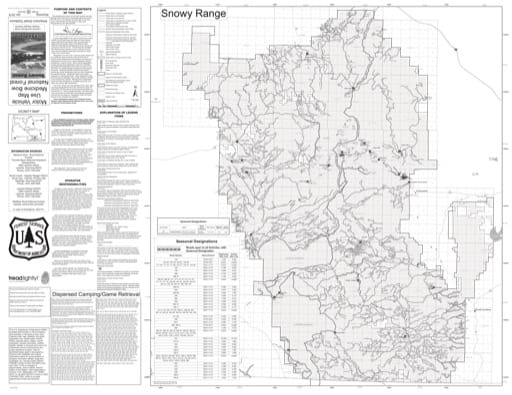 Motor Vehicle Use Map (MVUM) of Snowy Range in Laramie and Brush Creek-Hayden Ranger Districts in Medicine Bow National Forest (NF) in Wyoming. Published by the U.S. Forest Service (USFS).