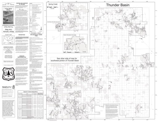 map of Thunder Basin National Grassland MVUM - Douglas North 2015