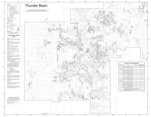 map of Thunder Basin National Grassland MVUM - Douglas South 2015