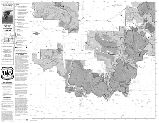 Motor Vehicle Use Map (MVUM) of Aspen Ranger District in White River National Forest (NF). Published by the U.S. Forest Service (USFS).