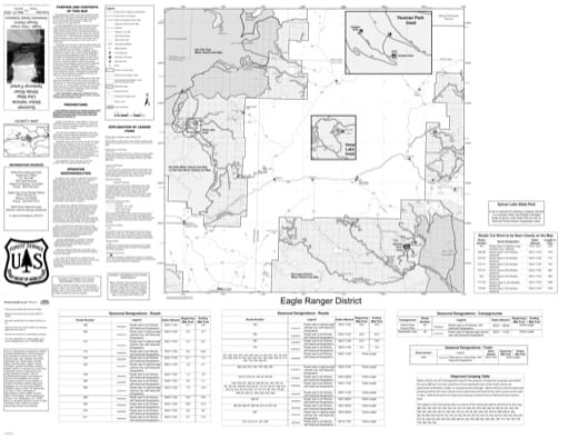 Front side of the Motor Vehicle Use Map (MVUM) of Eagle - Holy Cross Ranger District in White River National Forest (NF) in Colorado. Published by the U.S. Forest Service (USFS).