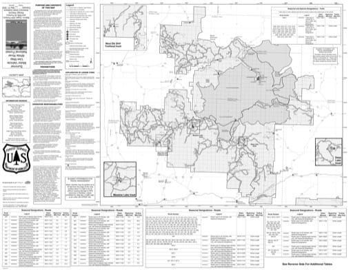 Back side of the Motor Vehicle Use Map (MVUM) of Flat Tops area in White River National Forest (NF) in Colorado. Published by the U.S. Forest Service (USFS).