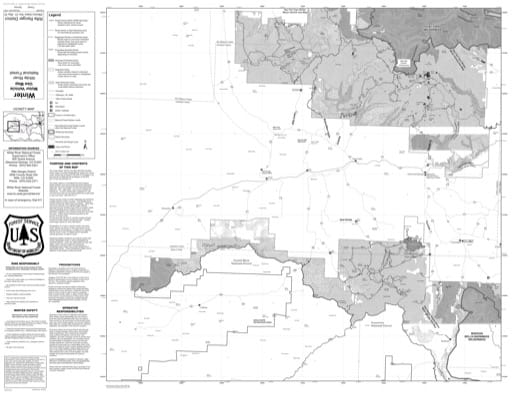 Motor Vehicle Use Map (MVUM) of Rifle Ranger District in White River National Forest (NF). Published by the U.S. Forest Service (USFS).