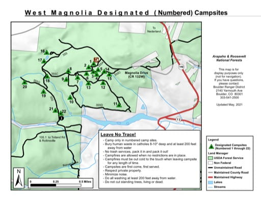 Map of West Magnolia Designated Campsites in Arapaho National Forest (NF) in Colorado. Published by the U.S. Forest Service (USFS).