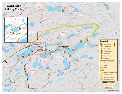 map of Grand Mesa - Ward Lake Trails