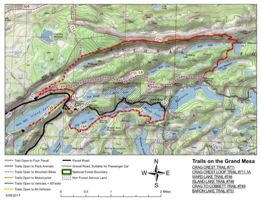 map of Grand Mesa - Crag Crest #711