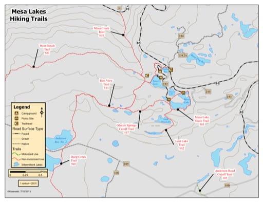 map of Grand Mesa - Mesa Lake Trails