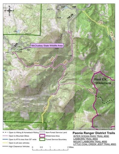 map of Gunnison - Inter-Ocean Pass #890